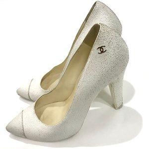 Chanel White Crackled Calf Skin Heel Pumps